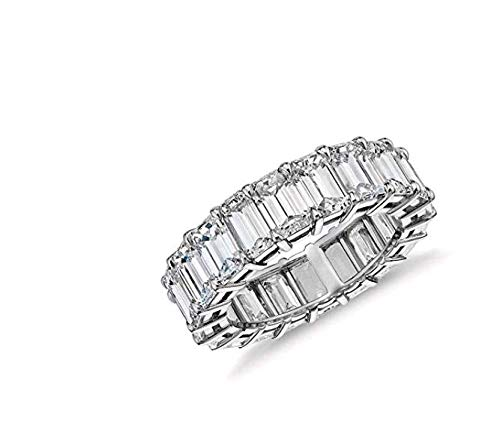 OPALBEST Eternity Wedding Ring Band Emerald Cut Cz Stones White Gold Plated for Women Girls ()