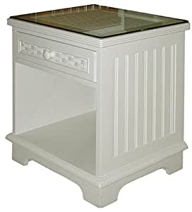 beautiful white wicker bedroom furniture | Amazon.com: Cottage White Wicker and Wood 1 Drawer ...