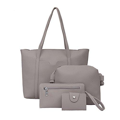 Birdfly Women 4pcs Set Handbag Shoulder Bags Four Pieces Tote Bag Crossbody Wallet Cheap Clearance (Gray)