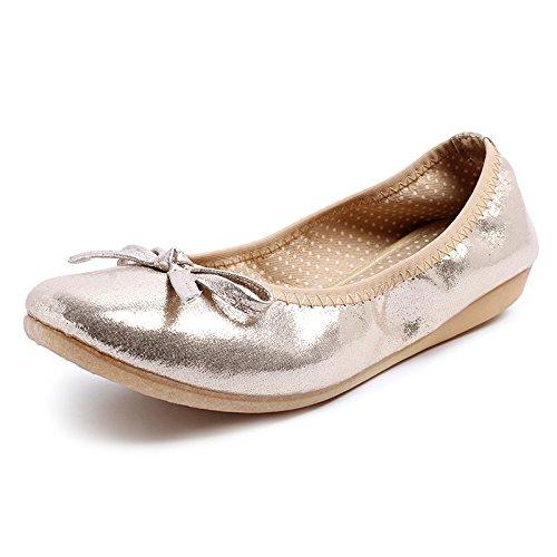 FLYRCX Zapatos Planos cómodos de Las Mujeres Zapatos Planos Zapatos de Viaje portátiles Zapatos de Ballet Plegable Zapatos de Maternidad Antideslizantes de Fondo Suave Gold