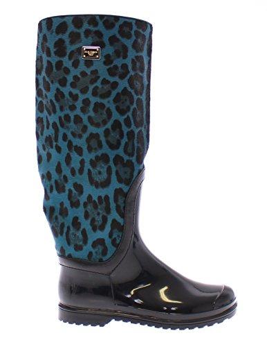 DOLCE & GABBANA Woman's Blue Leopard Print Calf Hair Logo Rubber Rainboots Boots by Dolce & Gabbana
