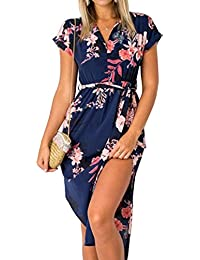2f21aa96acb9 Womens Dresses Summer Casual Floral Geometric Pattern Short Sleeve Midi  V-Neck Party Dress with