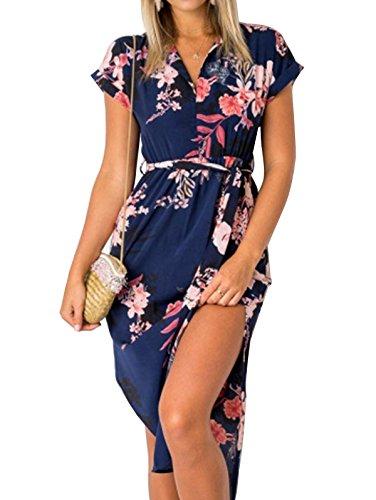 TEMOFON Womens Dresses Summer Casual Floral Geometric Pattern Short Sleeve Midi V-Neck Party Dress with Belt Blue 2XL