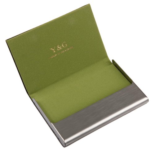 Y&G CC1016 Green Business Young Fashion Classic Job Handmade Shop Card Holder Black Leather PU Card Case