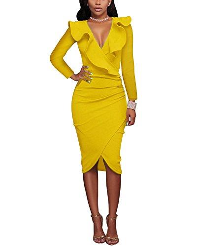 Sleeve Yellow Vestido Mujer Ajustado Gikim para Long O76ZxYR