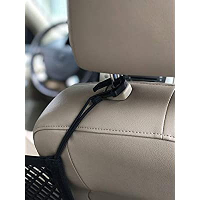 ALLNET Universal Double Layer Car Seat Organizer/Storage Mesh Cargo Net Hook Pouch Holder for Bag Luggage Phone Pets Children Kids Disturb Stopper (30 cm x 25 cm) (11.8 inch x 9.8 inch): Automotive