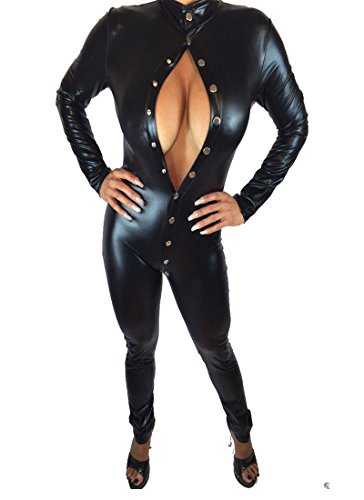 Lycra Catwoman Costume (Fashion Queen Sexy Black Bodysuit Long Sleeve Buttoned Jumpsuit Catwoman Erotic Catsuit (One Size, Black))