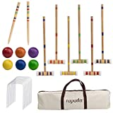 ROPODA Six-Player Croquet Set with Wooden Mallets, Colored Balls, Sturdy Carrying Bagfor Adults