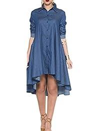pivaconis para mujer de manga larga dobladillo irregular Button Down camisas vestido vaquero