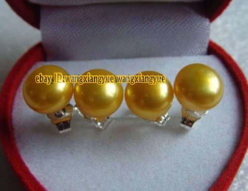 DoComer(TM) 2Pairs Big 11-12mm Golden Akoya Cultured Pearl Silver Stud Earrings AAA+