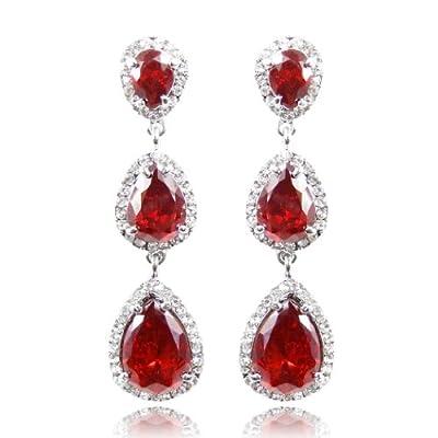 EVER FAITH 3 Teardrop Zircon Pierced Earrings Red Austrian Crystal Q00055-3