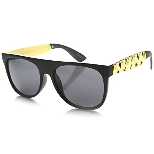 zeroUV-Retro-Flat-Top-Marijuana-Cannabis-Weed-Leaf-Metal-Temple-Sunglasses-Laser-Cut-Matte-Black-Smoke