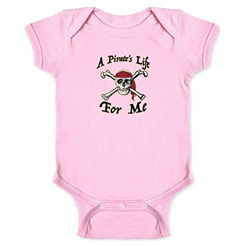 Pop Threads A Pirate's Life for Me Halloween Costume Skull Pink 6M Infant Bodysuit ()