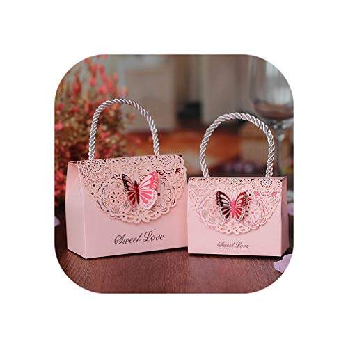 Old street 10Pcs/Lot Golden Butterfly Candy Bag Tote Bag Gift Box Package Wedding Favor Gift Boxes Thank You Gift Birthday Party Favor Bags,Pink,9X4X7Cm