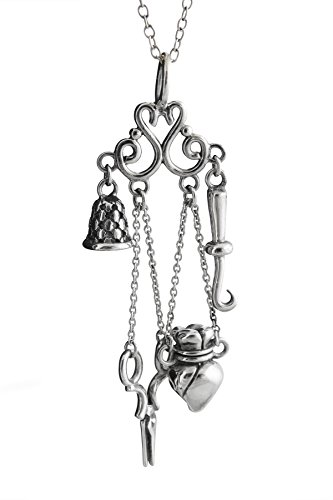 Sterling Silver Chatelaine (FashionJunkie4Life Sterling Silver Chatelaine Sewing Pendant Necklace with Dangling Tools, 18