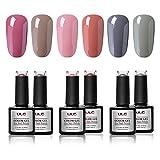 ULG Gel Nail Polish Set Pink Gray Autumn Fall Winter Soak Off UV LED Gel Nail Art Gel Polish Manicure Kit