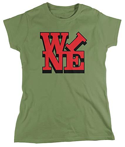 (Amdesco Women's Wine T-Shirt, Moss Green Small)