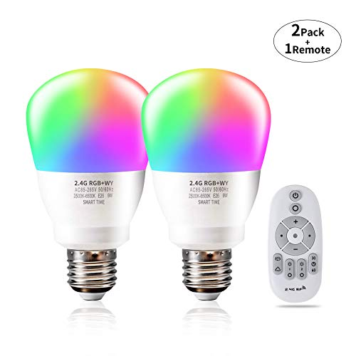 Color Changing LED Light Bulb Phwii RGB Multicolor Light Bulb Adjustable Light Bulb Dimmable Lamp 2.4g Wireless Remote Control Smart LED Bulbs 2-Pack 9w E26