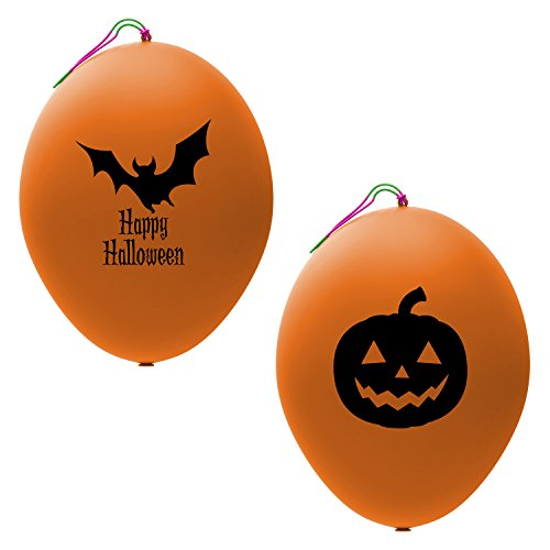 24 Orange Halloween Punch Balloons | Best for Party Favors | Gift Bags | Trick or Treat Prizes | 12 Each of Bat and Jack O Lantern Designs | Extra Large, Eco Friendly Latex Punch Balls for Kids for $<!--$12.99-->