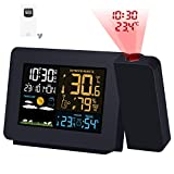 Kalawen Weather Station Color Projection Alarm Clock Multifunctional Time Date Weekday Temperature Humidity LCD Dispaly