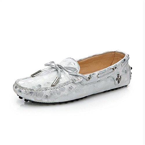 Mujer Cabeza zapatos Tyaw Superficial Boca De Dot Cuadrada Plana Zapatos White Cuero wwEXx