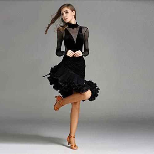 Baile Terciopelo Falda Vestido Negro amp;x Latino De Z malla Terciopelo Traje Dobladillo Irregular 6TwtFCqT