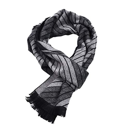 Runtlly Men's Fashion Winter Cashmere Feel Scarf DarkGreyBlack