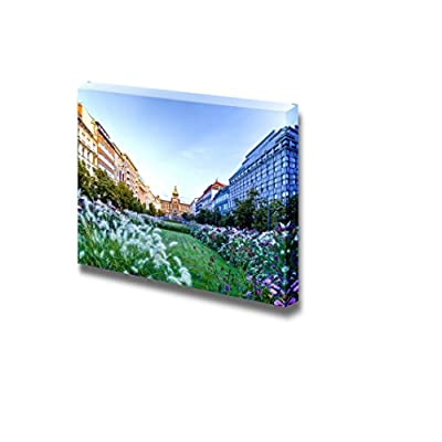 Beautiful Scenery Landscape Wenceslas Square in Prague in Central Europe - Canvas Art Wall Art - 16