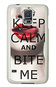 Keep Calm And Bite Me PC White Hard Case Cover Skin For Samsung Galaxy S5 I9600