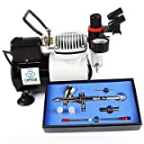WST Professional 3 Tips Airbrush Kit with High Performance Air Compressor for Hobby Craftworks Color , 110v