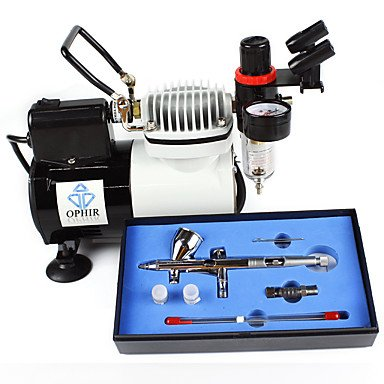 Professional 3 Tips Airbrush Kit with High Performance Air Compressor for Hobby Craftworks Color , 220v by HJLHYL