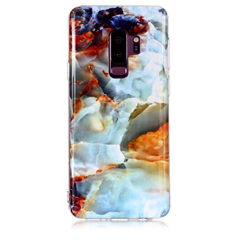 for Samsung Galaxy S9 Plus Marble Case with Screen Protector,Unique Pattern Design Skin Ultra Thin Slim Fit Soft Gel Silicone Case,QFFUN Shockproof Anti-Scratch Protective Back Cover - Fire Cloud by QFFUN (Image #1)