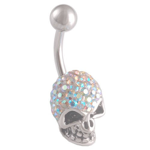 14 Gauge 1.6mm 3/8 10mm cute belly ring navel bar surgical steel unique button AWGI Body Piercing Jewelry (Skull Navel Ring)