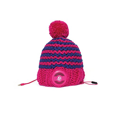 Earebel Pink & Blue Striped Hand Knitted Bobble Hat Beanie with Built-In Pink AKG Headphones, Nolana by Earebel powered by AKG