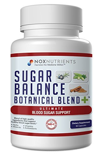 Blood Sugar Support Supplement - Glucose Support Dietary Capsules for Healthy Blood Sugar Level | Synergistic Blend of Herbs, Vitamins, Minerals and Antioxidants - Nox Nutrients