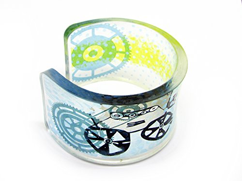 1 Transparent acrylic resin epoxy plexiglass bracelet cuff bangle with hand printed image of Projecting Poetry with retro projector gear