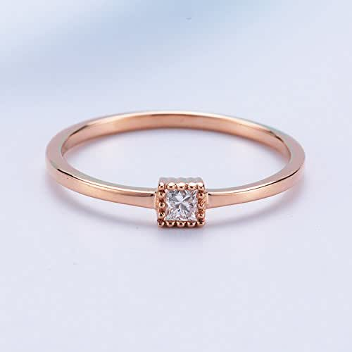 Amazon Com 14k Rose Gold Diamond Wedding Ring Minimalist Thin