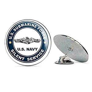 "US Navy US Submarine Force Silent Service Silver Dolphins Military Veteran USA Pride Served Gift Metal 0.75"" Lapel Hat Pin Tie Tack Pinback"