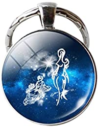 wintefei Single Face Round Glass 12 Constellation Zodiac Sign Pendant Key Ring Keychain - Leo