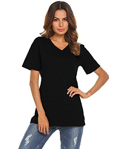 Women's Basic V-Neck Plain T-Shirts (Black, M)