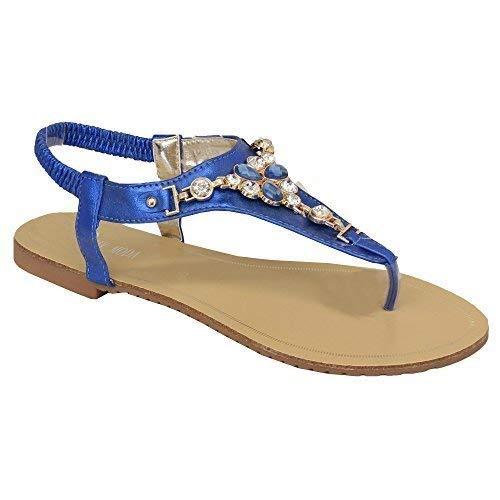 Femmes Diamant Sandales À Enfiler Plat Bout Ouvert Fermeture Arrière Été Chaussures Neuves Bleu - Hl21
