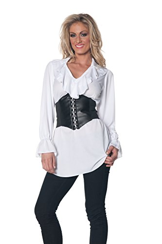[Underwraps Women's Plus-Size Pirate Ruffled Blouse, White, XX-Large] (Halloween Pirate Woman Costumes)