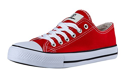 Shinmax Season and Unisex Women Casual for Canvas lowcut Trainers Hitops Men shoes Ups sneaker Cut Lace Red Canvas Shoes Low 8XaTrq8