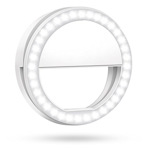 Meifigno Selfie Phone Camera Ring Light with [Rechargable] 36 LED Light, 3-Level Adjustable Brightness On-Camera Video Lights Clips On Night Makeup Light for iPhone Sumsung Galaxy Photography (White) by Meifigno