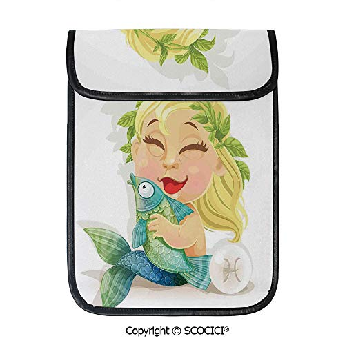 (SCOCICI Protective Storage Carrying Sleeve Case - Baby Pisces Symbol Holding Fish Nemo Horoscope Collection Venus Little Mermaid Boho Compatible with 12.9 Inch iPad Pro Tablet)