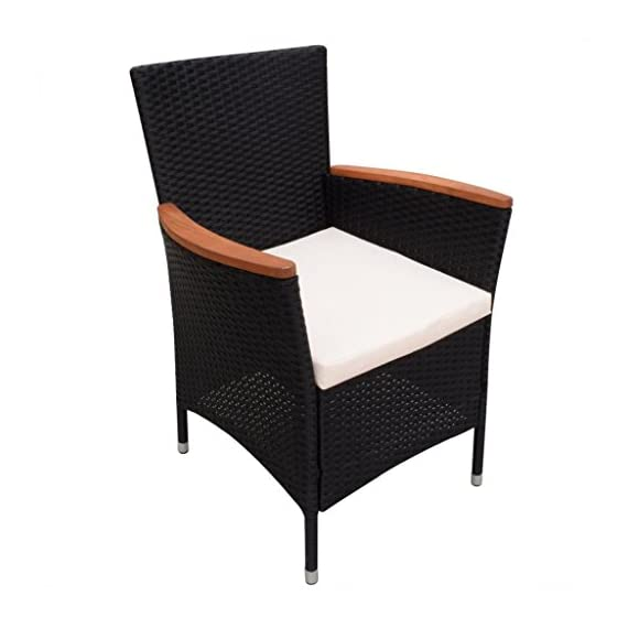 Festnight 9 Piece Outdoor Patio Rattan Wicker Furniture Dining Table Chair Set Black - The dining table is made of high-quality acacia wood, a tropical hardwood, which is weather-resistant and highly durable. Therefore, it is extremely suitable for outdoor use. The dining chairs feature acacia wood armrests. Made of waterproof PE rattan, the dining chairs are lightweight and easy to clean. The powder-coated steel frames and the aluminum feet make the chairs strong and sturdy. - patio-furniture, dining-sets-patio-funiture, patio - 41U bzaE9dL. SS570  -