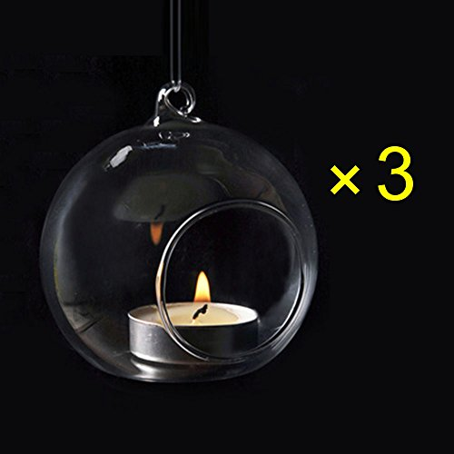 Crystal Glass Hanging Candle Holder Plant Terrarium Candlestick Holder Romantic Home Wedding Dinner Decor (Orb Shape1/Diameter 8CM (3PCS)) (Hanging Holders Glass Wholesale Tealight)