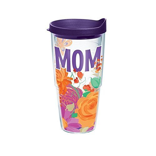 Springtime Wrap - Tervis 1168982 Springtime Mom Tumbler with Wrap and Royal Purple Lid 24oz, Clear