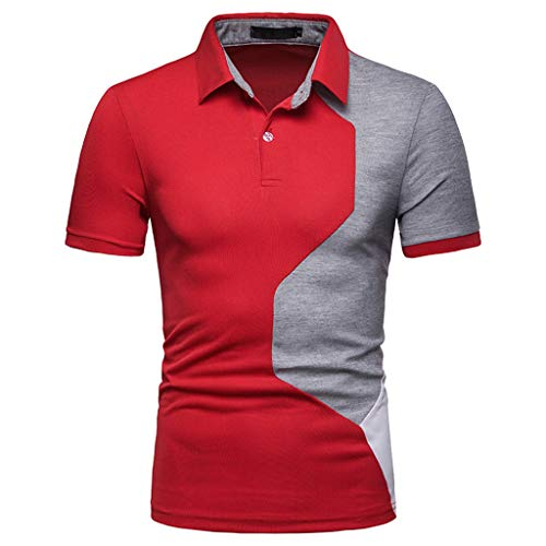 BHYDRY Men's t-Shirt Pack Men's Fashion Short Sleeve Splicing Painting Large Size Casual Top Blouse Shirts(Red,Small)