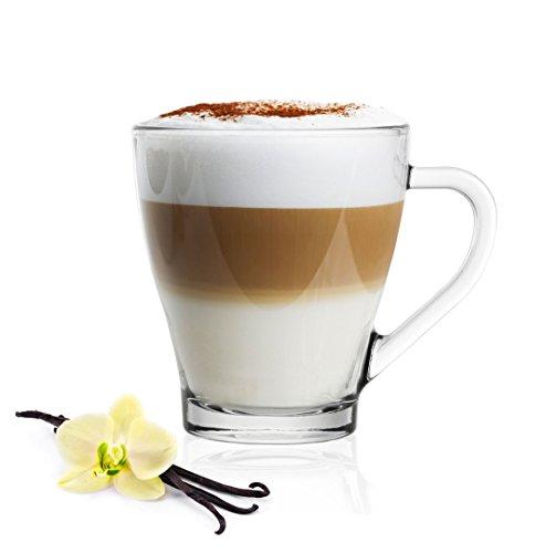 6 Cappuccino Gläser mit Henkel und 6 Edelstahl-Löffeln (gratis) Kaffeegläser Teegläser Latte Macchiato
